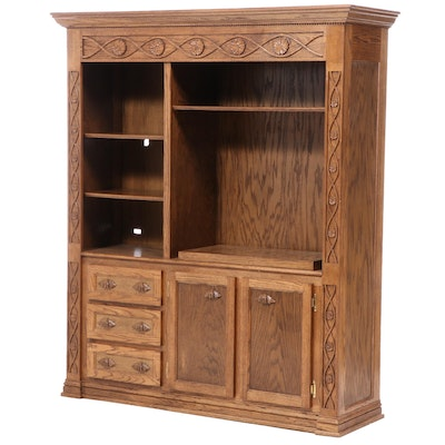 Carved Oak Media Cabinet, Late 20th Century