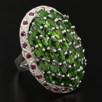 Sterling Silver Diopside and Garnet Ring