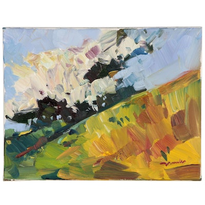 "Jose Trujillo Oil Painting ""Bright Hillside"""