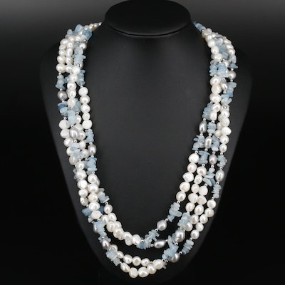 Aquamarine and Cultured Pearl Endless Strand Necklace