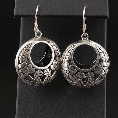 Sterling Silver Floral Motif Drop Earrings