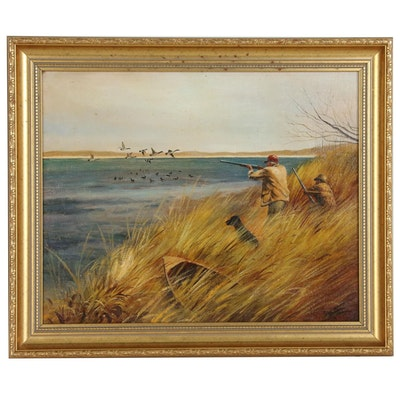 Oil Painting of Hunting Scene, Late 20th Century