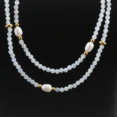 Aquamarine and Cultured Pearl Necklace