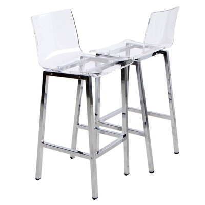Contemporary Modern Acrylic and Chrome Counter Height Chairs