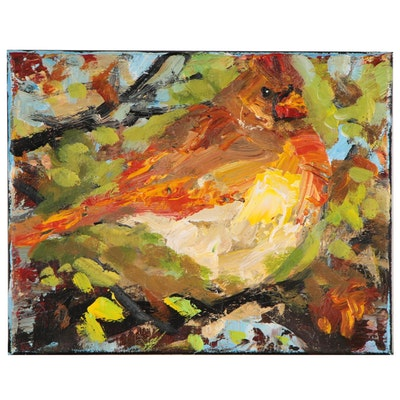 Elle Raines Acrylic Painting of a Cardinal