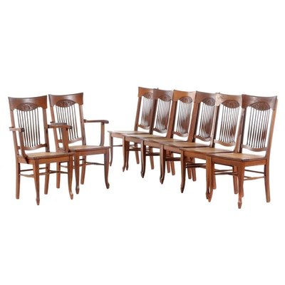 Stomps-Burkhardt Co. Oak Cane Seat Dining Chairs, Early 20th Century