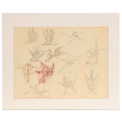 Ezio Martinelli Abstract Embellished Graphite Drawing, Mid 20th Century