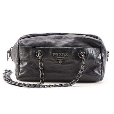 Prada Chain Shoulder Bag in Black Leather