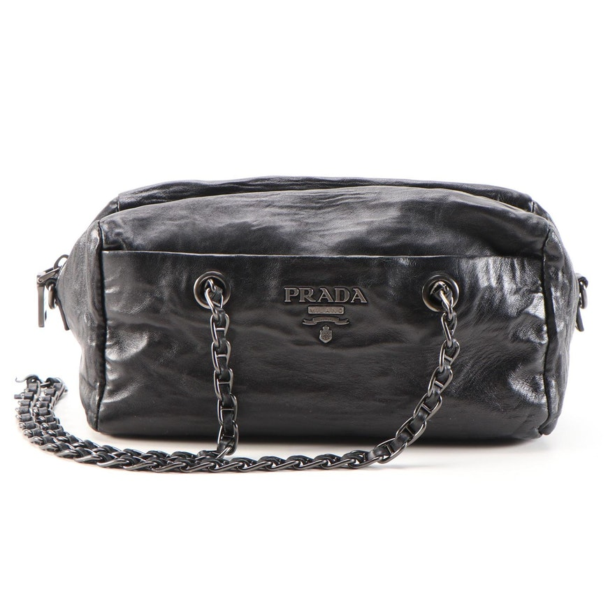 Prada Chain Shoulder Bag in Black Leather