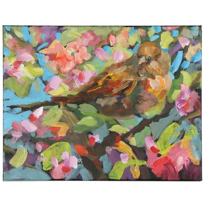 Elle Raines Abstract Acrylic Painting of Bird