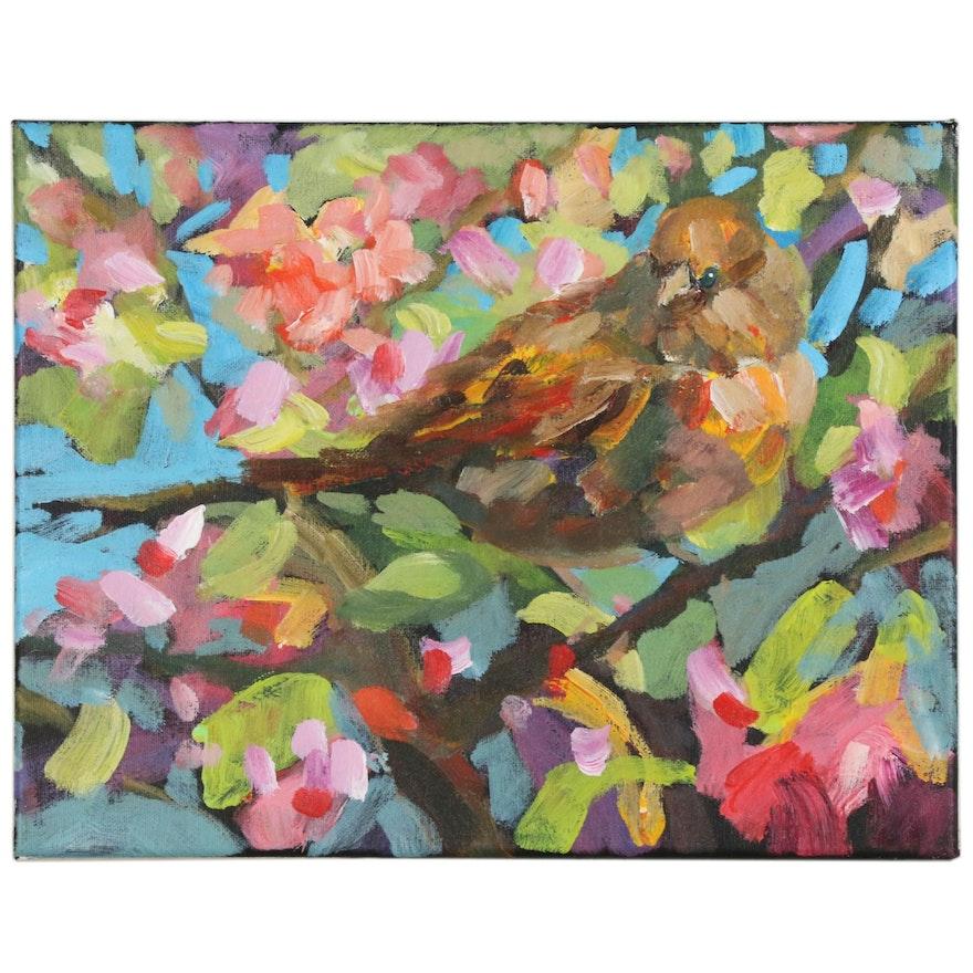 Elle Raines Abstract Acrylic Painting of Bird