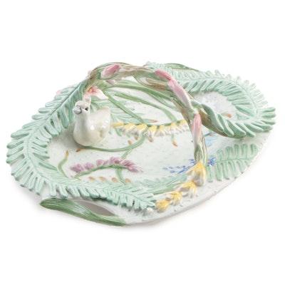 """Fitz & Floyd """"Floral Swan"""" Ceramic Centerpiece Basket"""