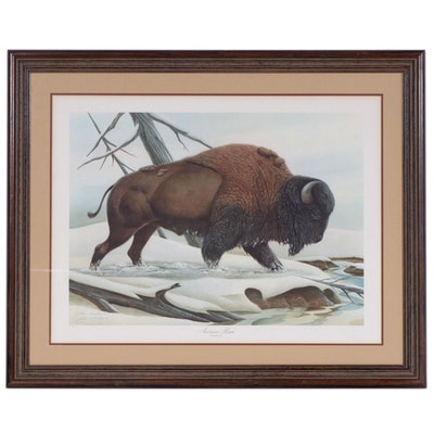 "John A. Ruthven Offset Lithograph ""American Bison"""