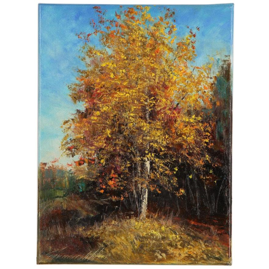 """Garncarek Aleksander Landscape Oil Painting """"Jesienne Drzewo"""",  2020"""