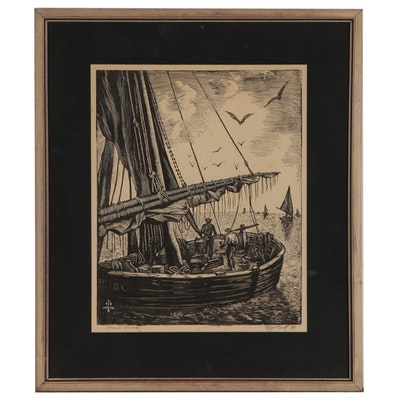 Roger Buck Woodcut of Nautical Scene, 1944