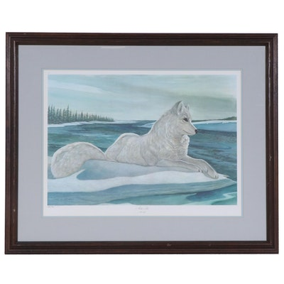 "John A. Ruthven Offset Lithograph ""Arctic Fox"", Late 20th Century"