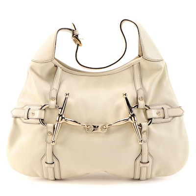 Gucci 85th Anniversary Bridle Bit Hobo Bag in Off-White Leather