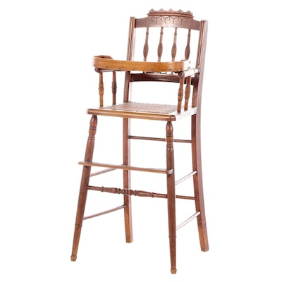 Victorian, Eastlake Style Walnut Child's High Chair, Late 19th Century