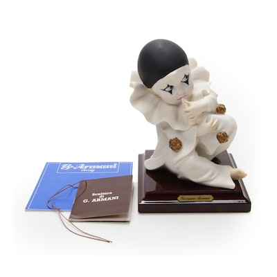 "Giuseppe Armani ""Pierrot Sucking Finger"" Porcelain Sculpture"