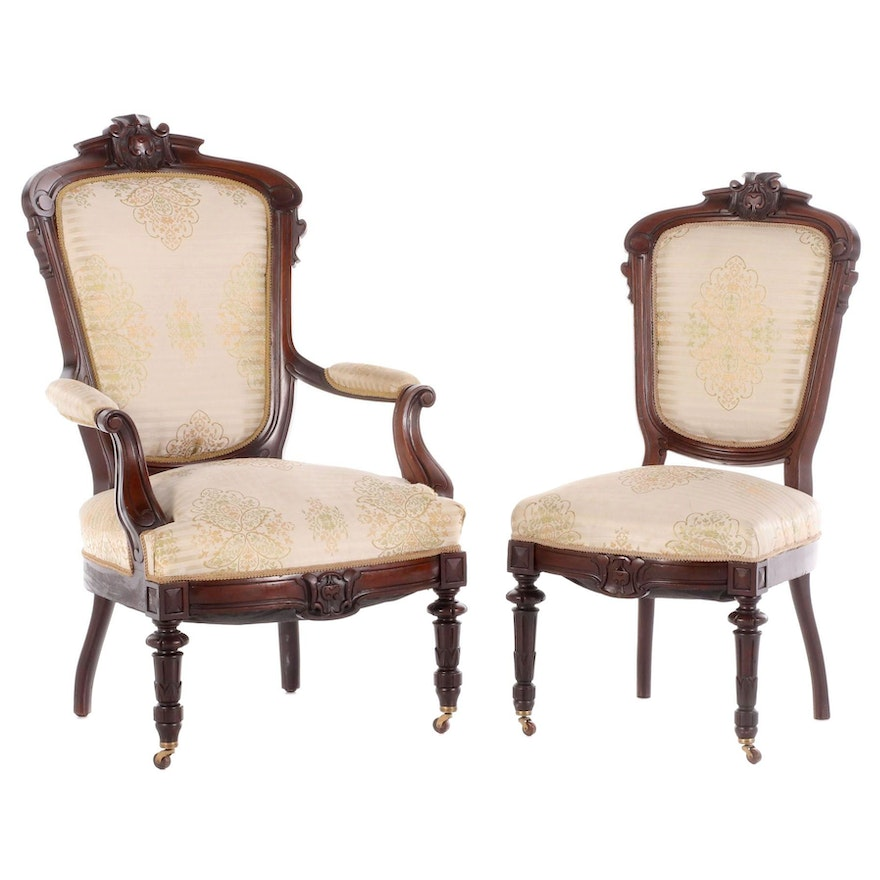 Victorian Carved Mahogany Upholstered Parlor Chair Set