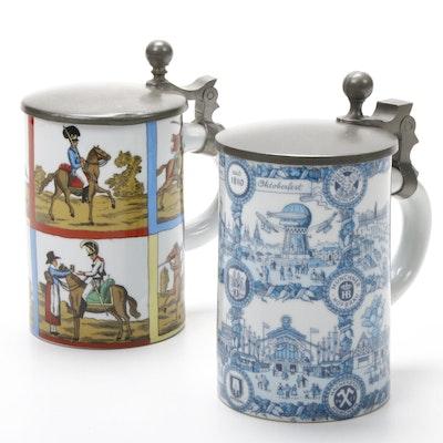 Ceramic and Pewter West German Beer Steins