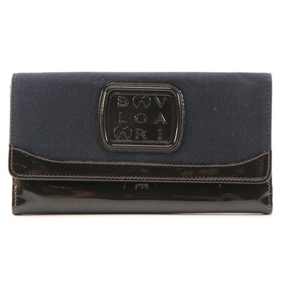 BVLGARI Limited Edition Canvas and Patent Leather Clutch Wallet