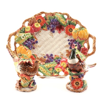 "Fitz & Floyd ""Autumn Bounty"" Ceramic Oval Platter and Candlesticks"