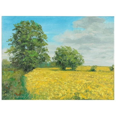 "Garncarek Aleksander Landscape Oil Painting ""Ciepty Dzien"",  2020"