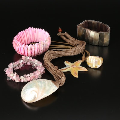 Assorted Jewelry with Shell and Glass