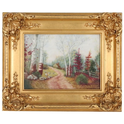 Providence Autumn Landscape Oil Painting on Porcelain, Early 20th Century