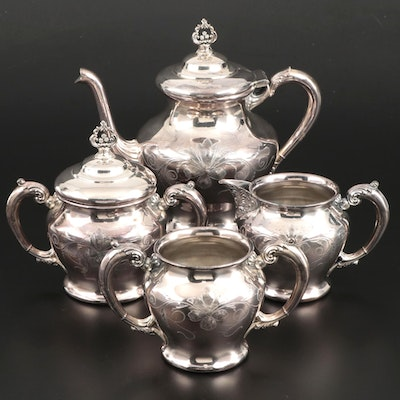 Britannia Metal Company Silver Plate Chased and Monogrammed Tea Service, 1980