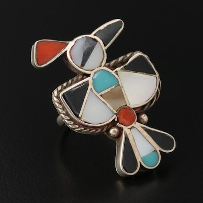 Sterling Silver Mother Of Pearl, Coral and Imitation Turquoise Ring