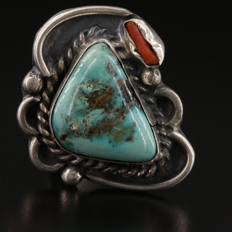 Western Style Turquoise Nugget and Coral Ring