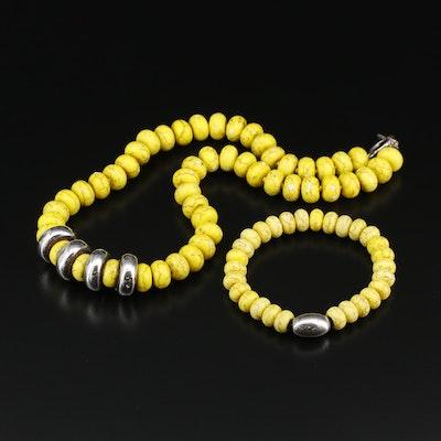 Sterling Silver Howlite Beaded Necklace and Bracelet Set