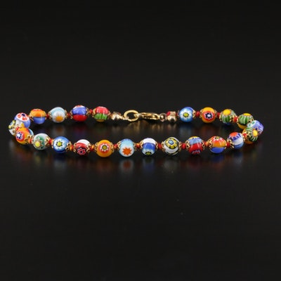 Beaded Millefiori Glass Bracelet