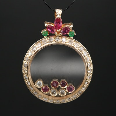 18K Ruby, Diamond and Emerald Pendant with Floating Stones