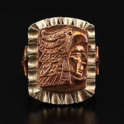 Mexican Aztec Eagle Warrior Motif Ring