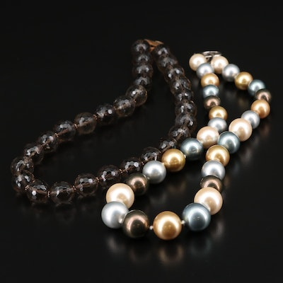 Sterling Silver Smoky Quartz and Faux Pearl Necklaces