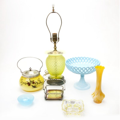 Decorative Hobnail Glass Table Lamp and Table Accessories, Vintage