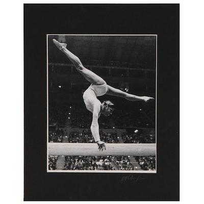 """Ott Gangl Silver Gelatin Photograph """"Olga Corbut, Russian Gymnast..."""", 1975"""