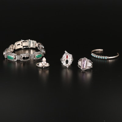 Sterling Silver Amethyst, Malachite and Marcasite Bracelets and Rings