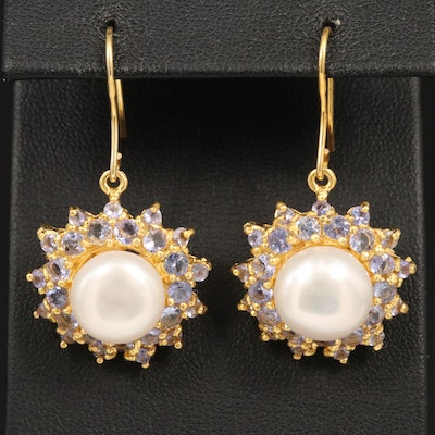 Sterling Silver Cultured Pearl and Tanzanite Earrings