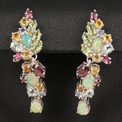 Sterling Silver Opal, Sapphire and Rhodolite Garnet Earrings
