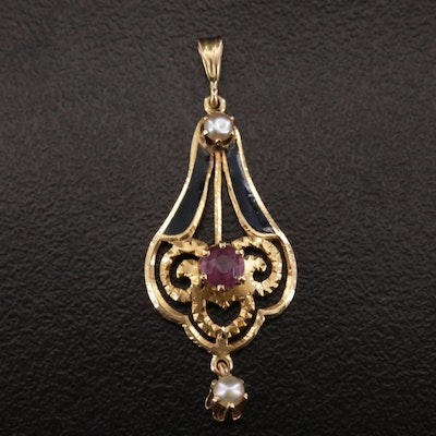 Arts and Crafts 14K Gold, Enamel and Pearl Pendant with Drop