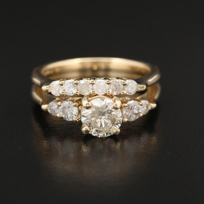 14K Gold Diamond Ring Set