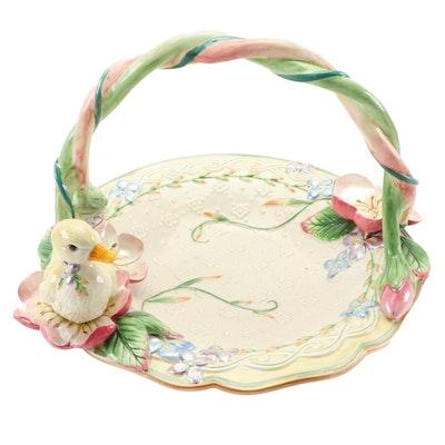 "Fitz & Floyd ""Garden Rhapsody"" Ceramic Handled Basket"