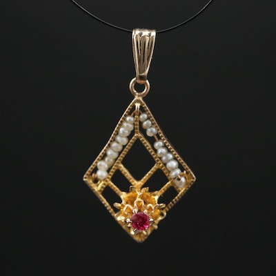 10K Ruby and Seed Pearl Pendant