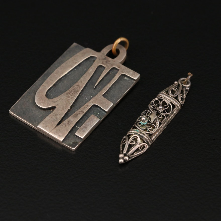 Sterling Silver 'Love' and Prayer Scroll Pendants