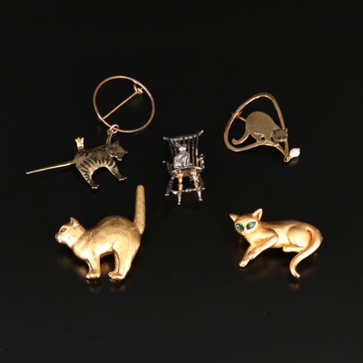 Assorted Costume and Sterling Silver Cultured Pearl and Glass Cat Brooches