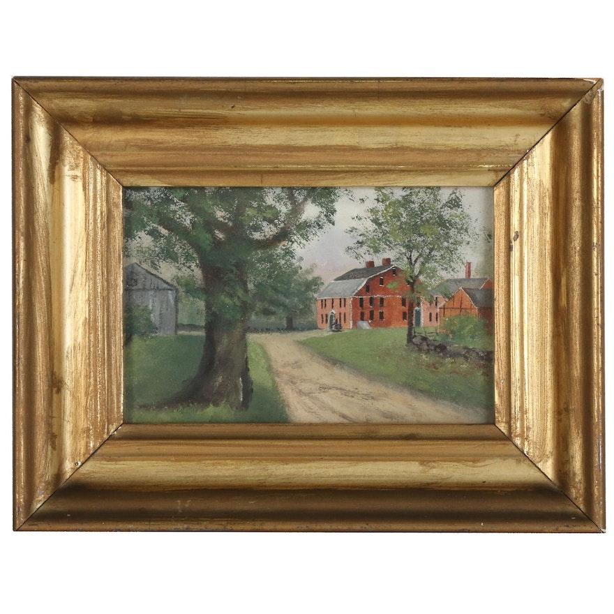 Miniature Oil Painting of Farmhouse, Late 20th Century